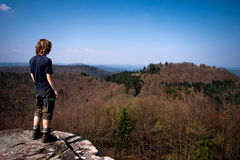 Hiker lookout in autumn Royalty Free Stock Image