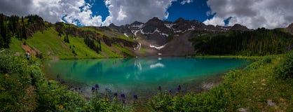 Hiker looks at Blue Lake Ridgway Colorado stock image