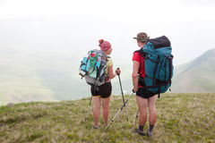 Hiker looks for the way in Carpathian mountains Stock Photography