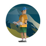 Hiker lost in the wild. Trekking, hiking, climbing, traveling.. Vector illustration on the theme of hiking, backpacking, climbing, traveling, trekking, walking Stock Photography