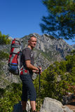 Hiker on the Lycian trail Royalty Free Stock Images