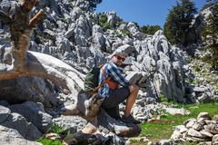 Hiker on lycian way Royalty Free Stock Images