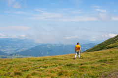 Hiker man. Back view. Stock Images
