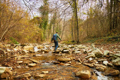 Hiker man crossing a river on stones Stock Images