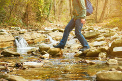 Hiker man crossing a river on stones, view of legs Royalty Free Stock Photography