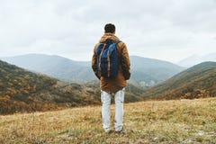 Hiker man enjoying by scenics in autumn season Royalty Free Stock Photography