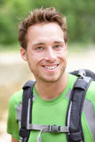 Hiker man portrait of outdoors hiking sporty guy Stock Photos