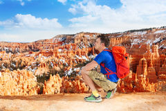 Hiker man take picture of Bryce canyon Stock Images