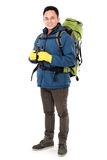 Hiker man tourist with binoculars. Hiking. Isolated over white background Stock Images