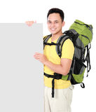 Hiker man tourist with blank board Stock Photo