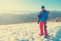 Hiker man using gps receiver for planning Royalty Free Stock Photos