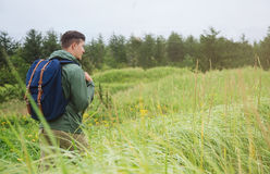 Hiker man walking among high grass in summer Stock Photos