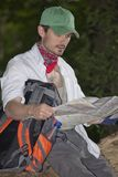 Hiker with map Stock Image