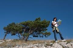 hiker map thw Στοκ Εικόνες