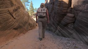 A Hiker Mature Woman Walks Between The Smooth And Wavy Rocks Of The Canyon. Hiker woman walks between two massive smooth and wavy colorful rocks to the forest stock video