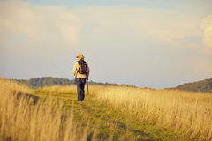 Hiker meadow Royalty Free Stock Image