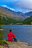 Hiker at the Mills Lake Colorado Royalty Free Stock Images