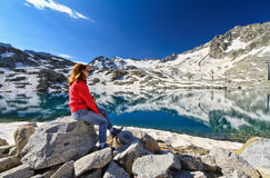 Hiker in Monticello Lake Stock Images