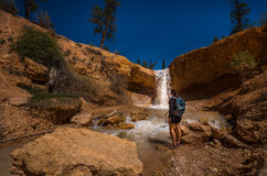 Hiker at Mossy Cave Trail Bryce Canyon Royalty Free Stock Photography
