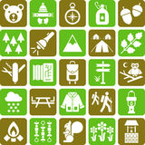 Hiker and mountain icons stock illustration