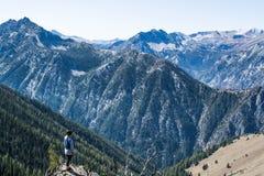 Hiker on mountain peak