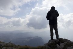 Hiker on mountain Stock Photography