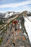 hiker on mountain ridge Stock Images