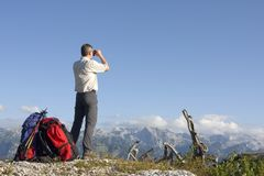 Hiker on mountain summit Stock Photography