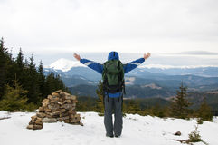 Hiker on the mountain top Stock Image