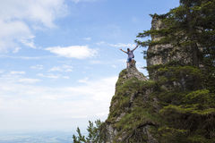 Hiker on mountain top Stock Photography