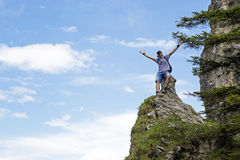 Hiker on mountain top Royalty Free Stock Photography