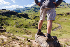 Hiker Mountain Valley River Royalty Free Stock Photography