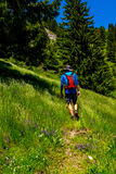 Hiker. Mountaineer hiking on mountain path Royalty Free Stock Photography