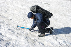 Hiker in mountains. Hikers in snow mountains. Tajikistan Stock Photo