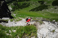Hiker in the mountains. Allgäu Alps, Oberstdorf, Bavaria, Germany Stock Images