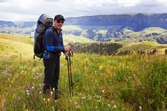 Hiker in mountains Royalty Free Stock Photography
