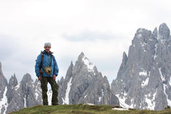 Hiker at the mountains Stock Photography