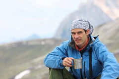 Hiker at the mountains Royalty Free Stock Photo