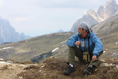 Hiker at the mountains Royalty Free Stock Image