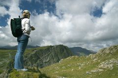 Hiker in the Mountains Royalty Free Stock Image