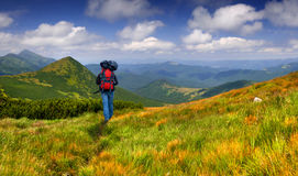 Hiker in the mountains Royalty Free Stock Photos