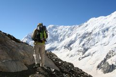 Hiker in the Mountains Royalty Free Stock Photography