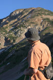 Hiker in mountains Royalty Free Stock Image