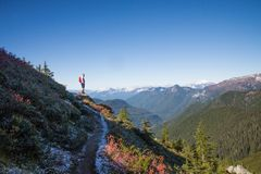 Hiker on mountains Royalty Free Stock Photo
