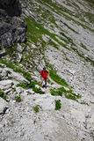 Hiker in the mountains, Alps, Bavaria, Germany Royalty Free Stock Photography