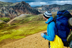 Hiker in the mountains, Iceland Stock Images