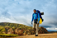 Hiker in the mountains, Iceland Royalty Free Stock Images