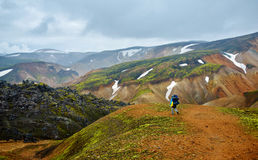 Hiker in the mountains, Iceland Royalty Free Stock Photo