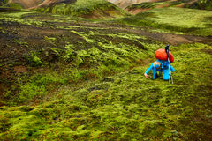 Hiker in the mountains, Iceland Stock Photography