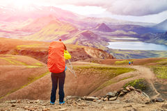 Hiker in the mountains, Iceland Stock Photos